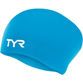 TYR Wrinkle-Free Long Hair Gorro de natación, blue